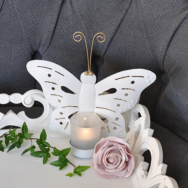 Candle Holder Butterfly Wall - White