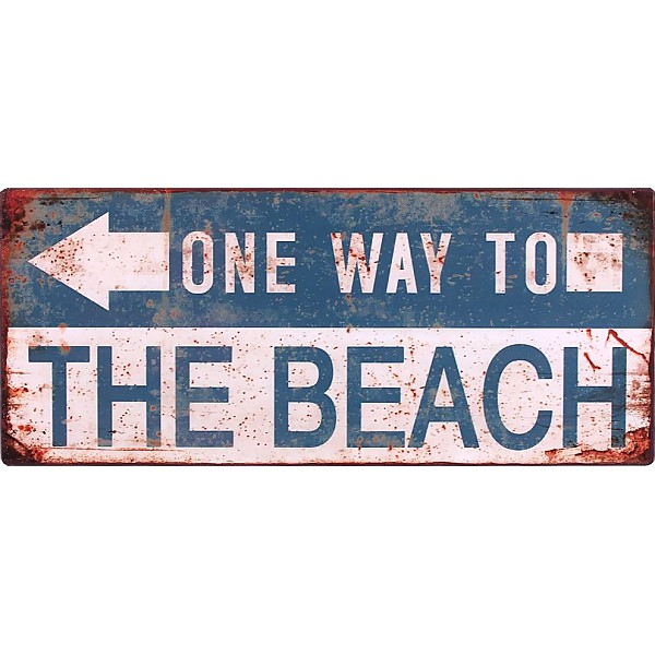 Plåtskylt One way to the beach