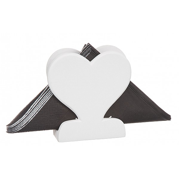 Wooden Napkin Holder Heart - White