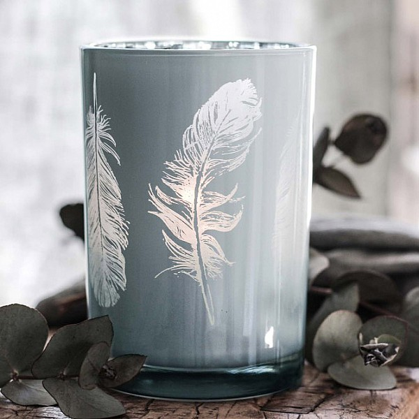 Majas Candle Holder Feathers - White