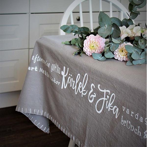 Majas Tablecloth Kärlek & Fika - Grey