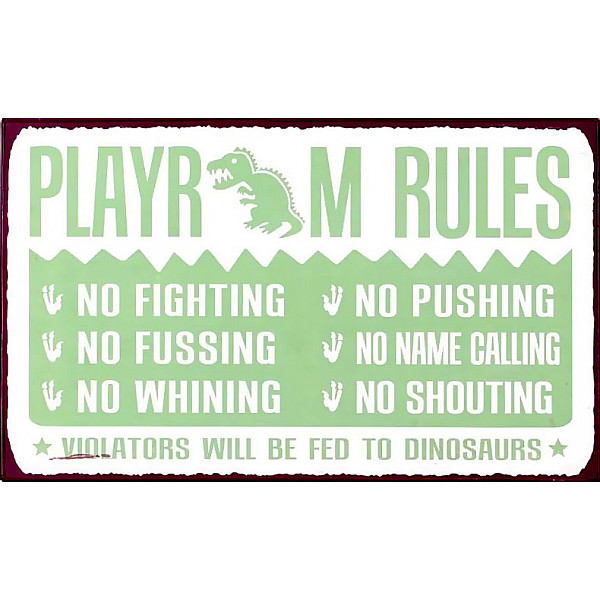 Plåtskylt Playroom Rules