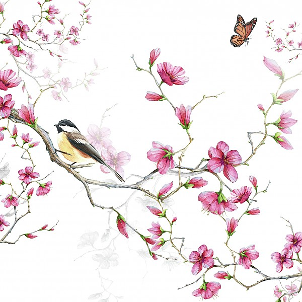 Servetter Bird & Blossom White