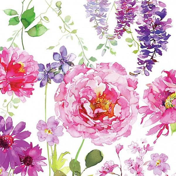 Servetter Pink Roses White