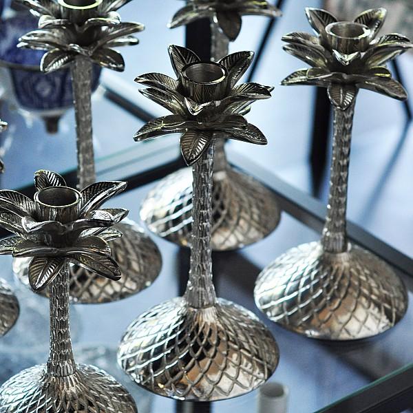 Ljusstake Palm Silver - Stor