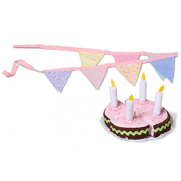 Födelsedagstårta med vimplar