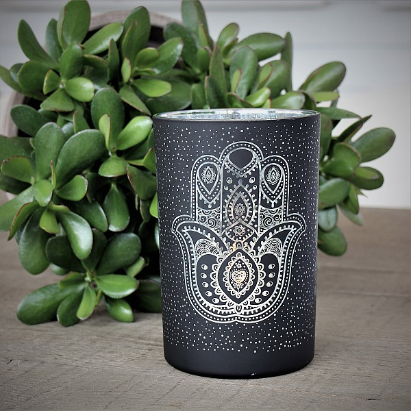 Majas Candle Holder Hamsa Hand - Black / Silver