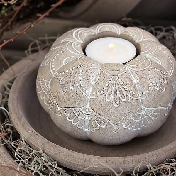 Majas Candle Holder Pumpkin Mandala Whitewash