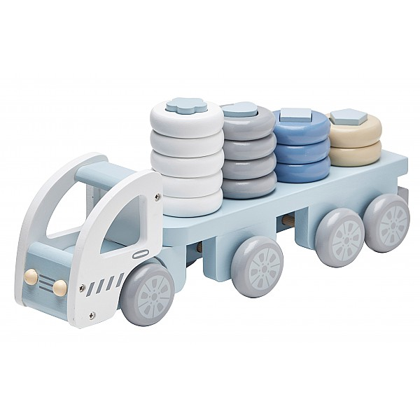 Kids Concept Lastbil med stapelringar - Blå