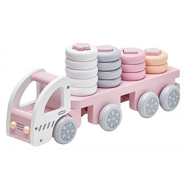 Kids Concept Lastbil med stapelringar - Rosa