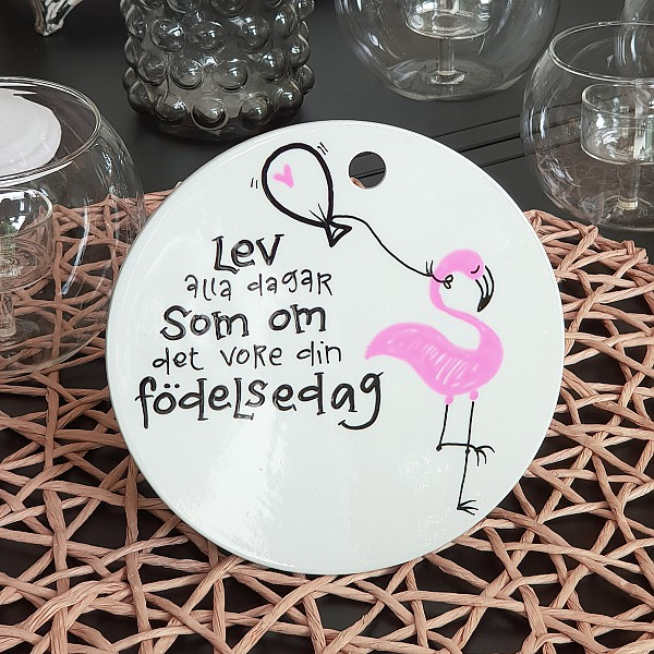 Porslinstavla Flamingo Födelsedag Rund - Liten