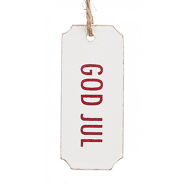 Gift Tag God Jul - Red text