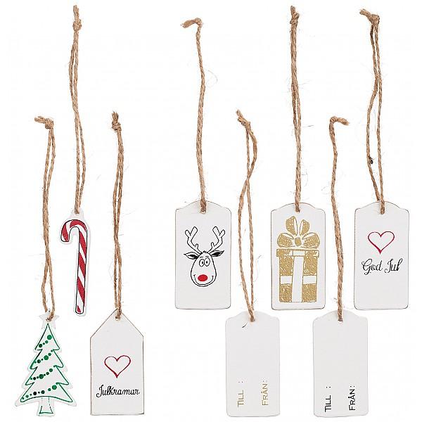 Wooden Gift Tag Christmas Motifs - 6 pcs