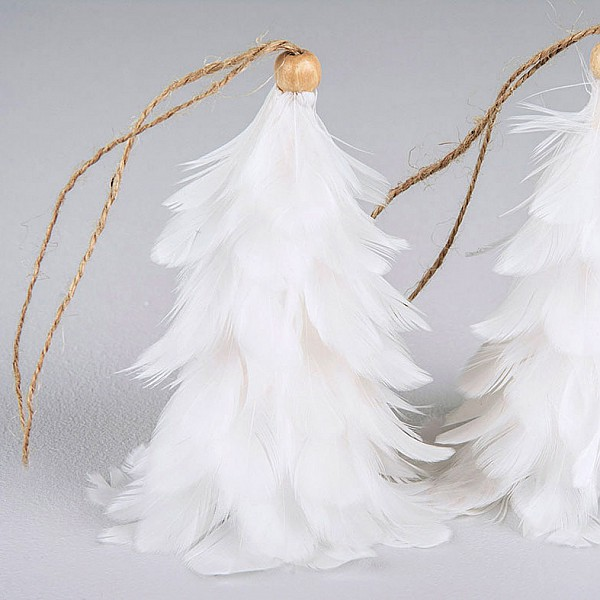 Feather Tree Hanging - White