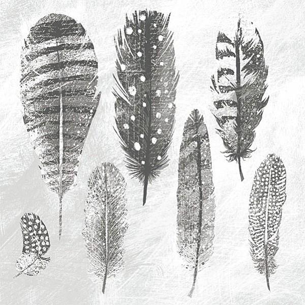 Napkins Feathers Grey