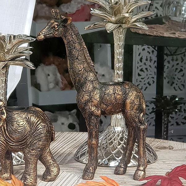 Ljusstake Giraff - Guldbrun