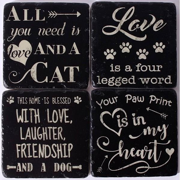 Glasunderlägg Katt & Hund
