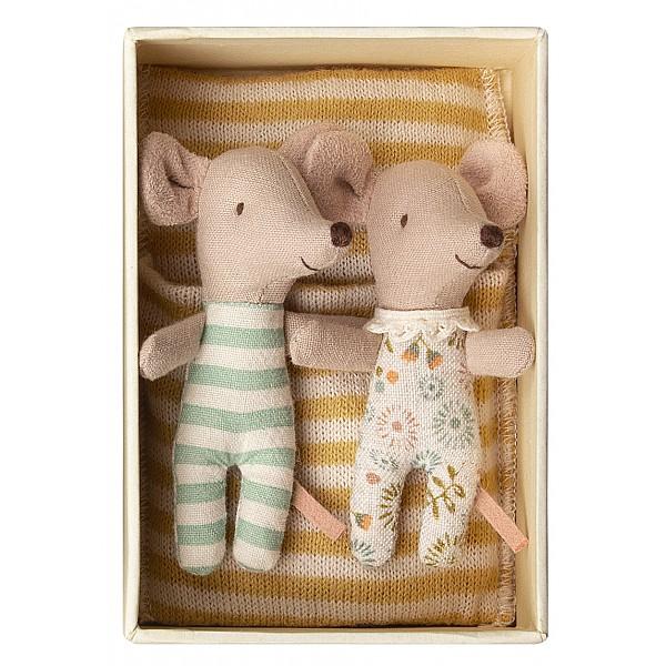 Maileg Babymöss Tvillingar i ask