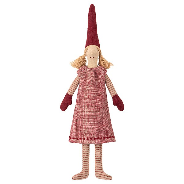 Maileg Tomte Mini Pixy - Flicka Röd klänning