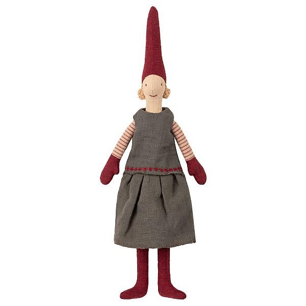 Maileg Tomte Mini Pixy - Flicka Grå klänning