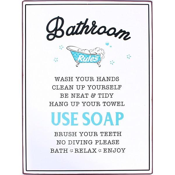 Plåtskylt Bathroom Rules med badkar