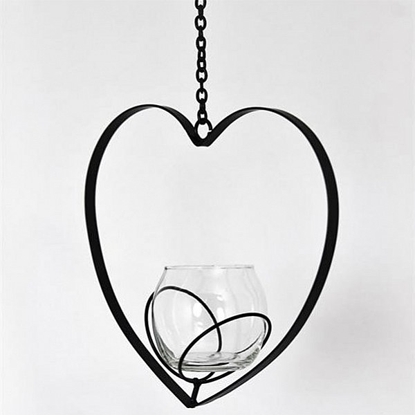 Hanging Candle Holder Bim Heart - Black