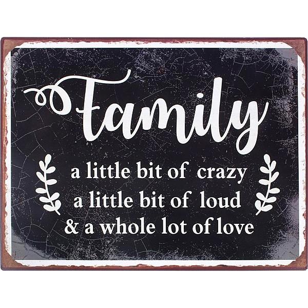 Plåtskylt Family A little bit of crazy