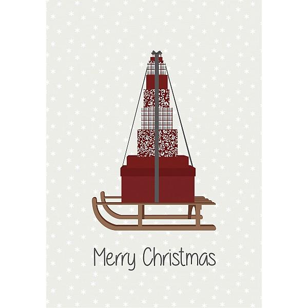 Plåtskylt Merry Christmas Släde med paket
