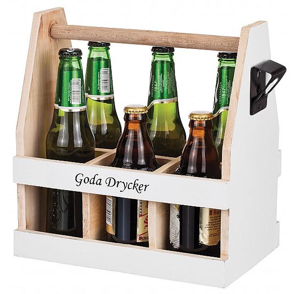 Wooden Box Goda Drycker with bottle opener White / Wood - 6 bottles