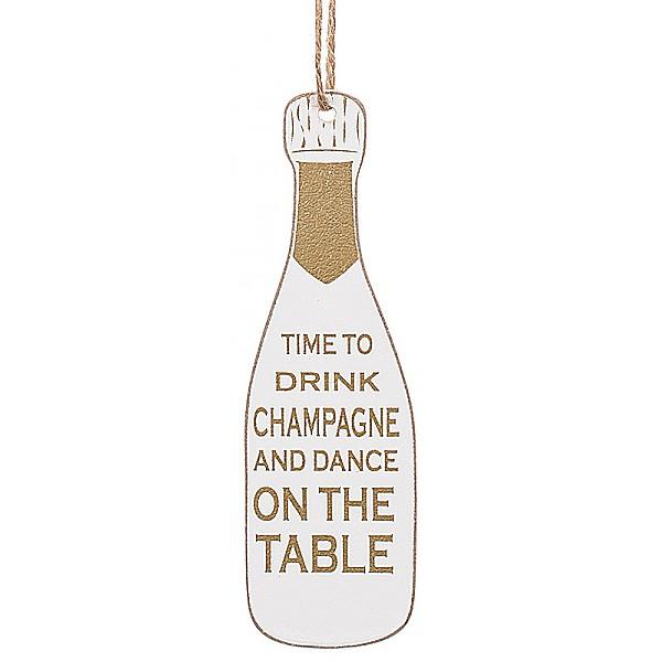 Champagneflaska Tag Vit kork - Time to drink Champagne