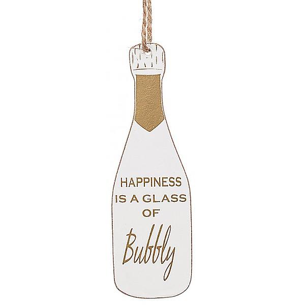 Champagneflaska Tag Vit kork - Happiness is a glass of bubbly