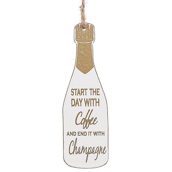 Champagneflaska Tag Guld kork - Start the day with coffee and end it with Champagne