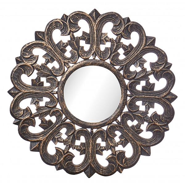 Spegel CARVE Lilja Rund 60 cm - Svart/Guld