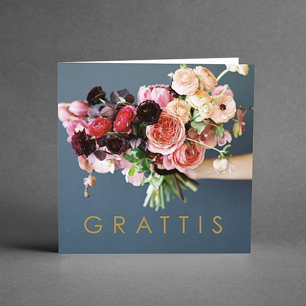 Kort Grattis Blomsterbukett
