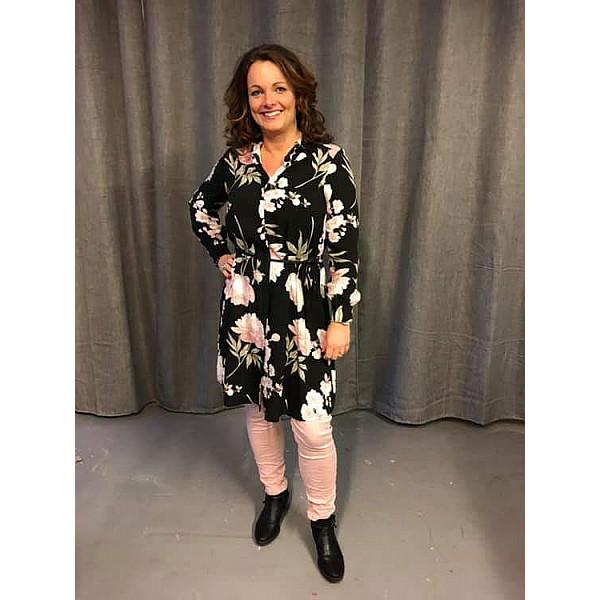 Blommig Långskjorta SELINE - Svart