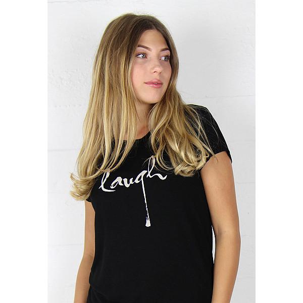 T-shirt Black Tee Laugh - Black/Creme