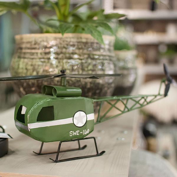 Helikopter i metall - Grön
