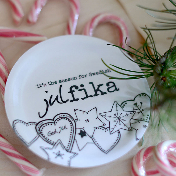 Glasunderlägg/Minibricka Swedish Julfika
