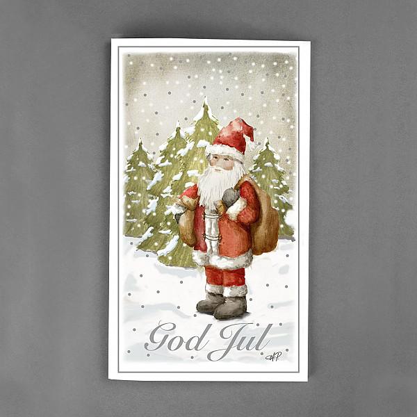 Julkort God Jul Tomte
