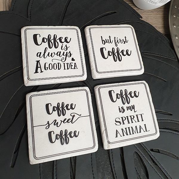 Glasunderlägg Coffee is my spirit animal