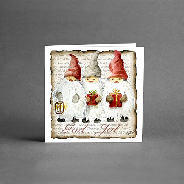 Litet Julkort God Jul Tre Tomtar
