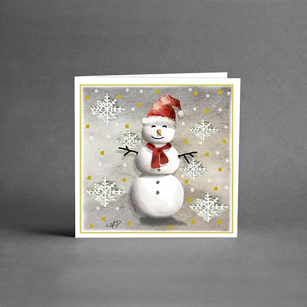 Litet Julkort Snögubbe