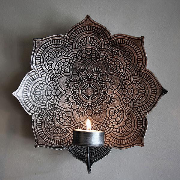 Majas Wall Candle Holder Mandala Smoke - Small