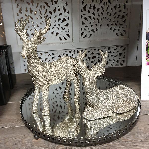 Liggande Ren Reindeer med bling Guld - 14,5 cm