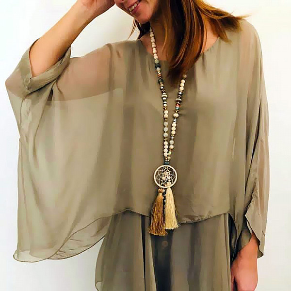 Necklace Long with large dreamcatcher - Creme
