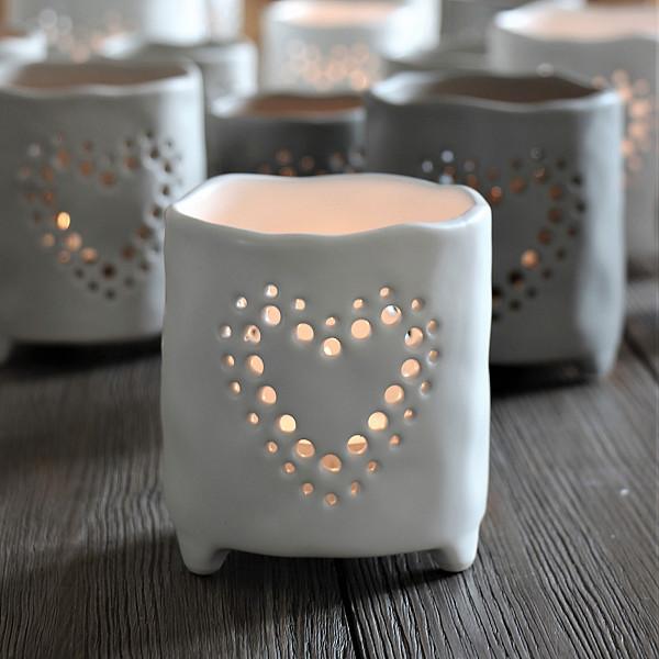 Majas Ceramic Candle Holder Heart Large - White