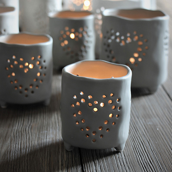 Majas Ceramic Candle Holder Heart Small - Grey