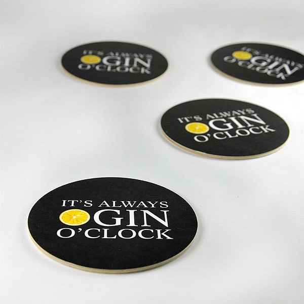 Glasunderlägg Gin o clock 4-pack - Svart/Vit