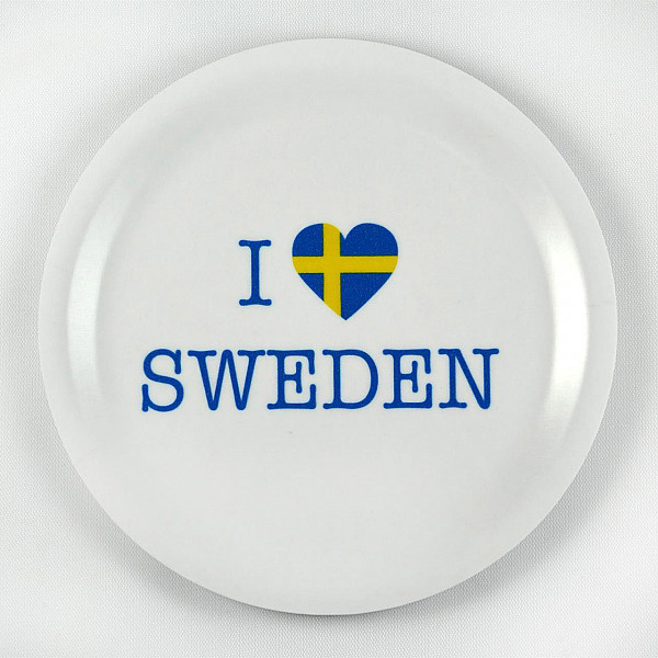 Glasunderlägg I love Sweden - Vit/Gul/Blå