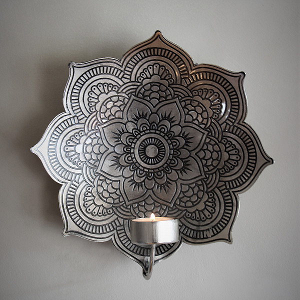 Majas Wall Candle Holder Mandala Antique Silver - Large